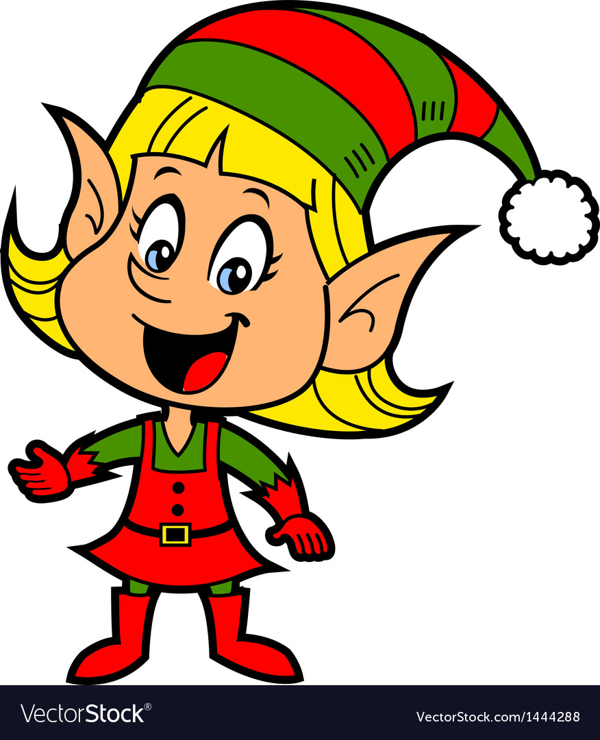 girl christmas elf royalty free vector image vectorstock rh vectorstock com elves vector graphics Elf Boy Vector Graphics