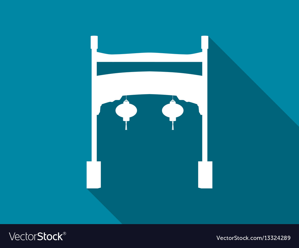 Chinese gate flat icon with long shadow vector image