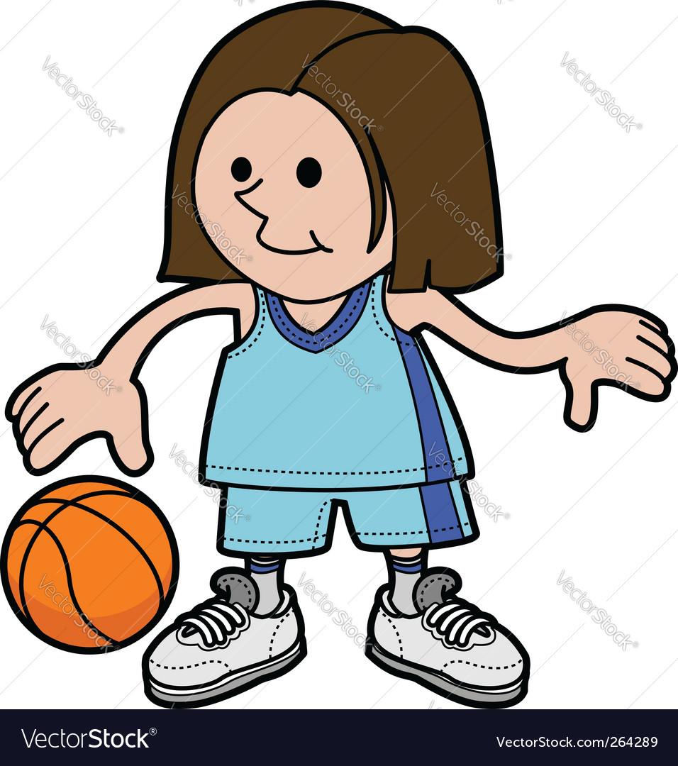 Illustration of girl playing basketball vector image