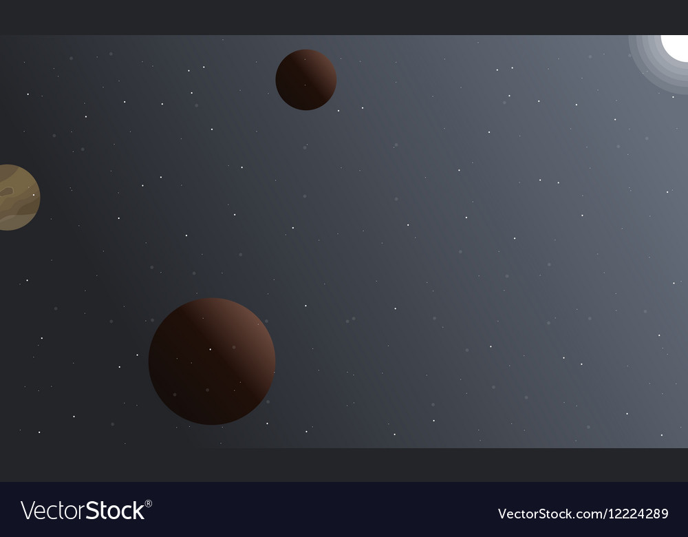 Landscape of space planet and light vector image