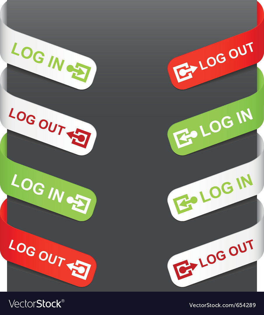Left and right side signs - log in log out vector image