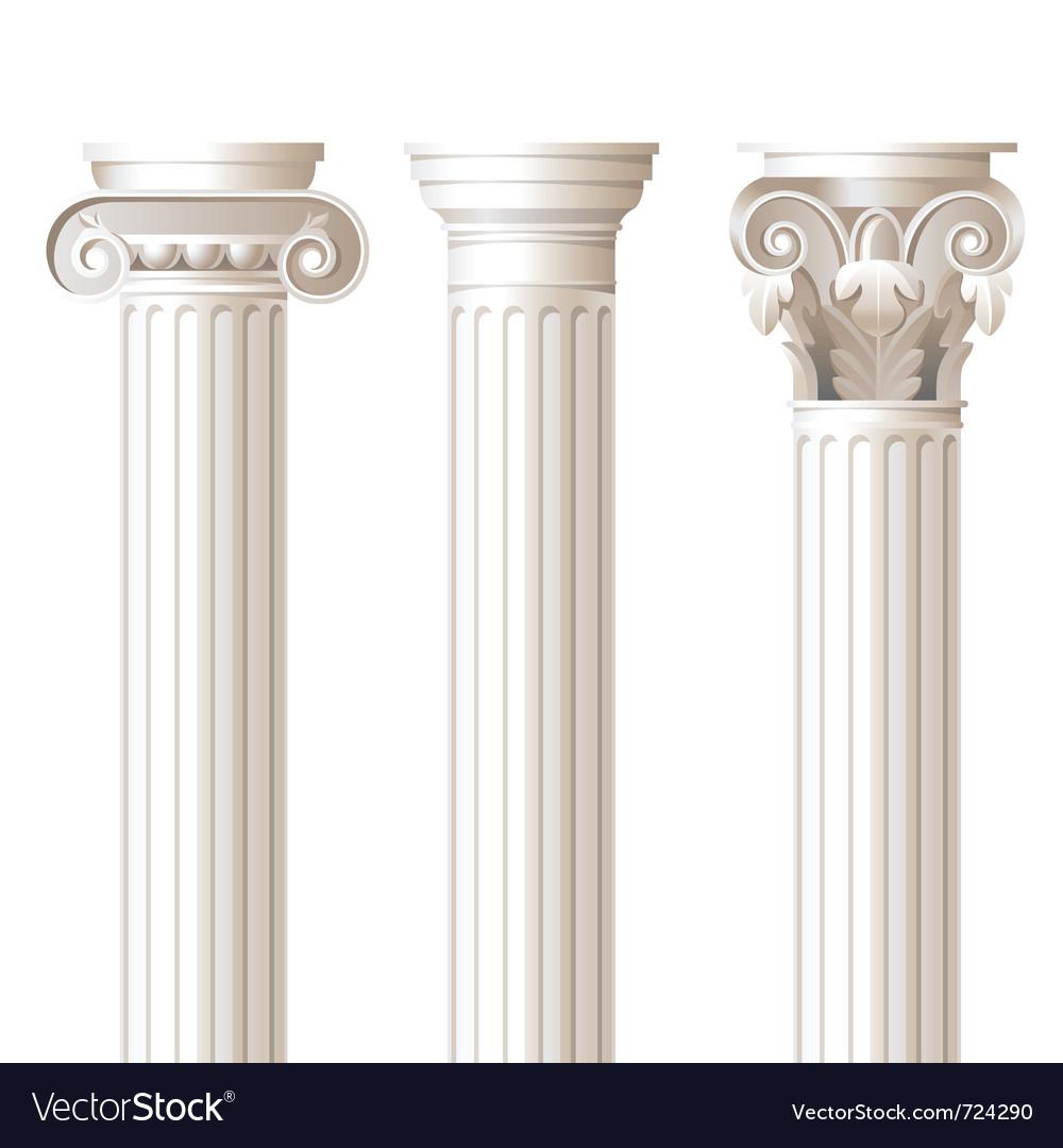 Ionic doric corinthian columns Vector Image