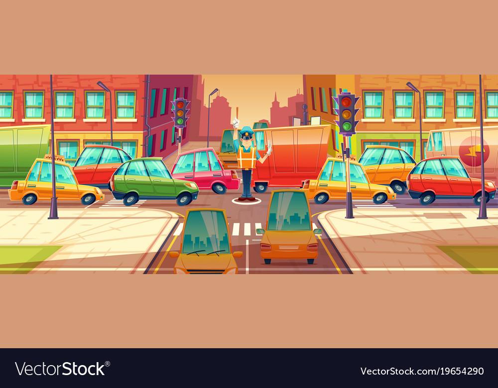 City crossroads rush hour vector image