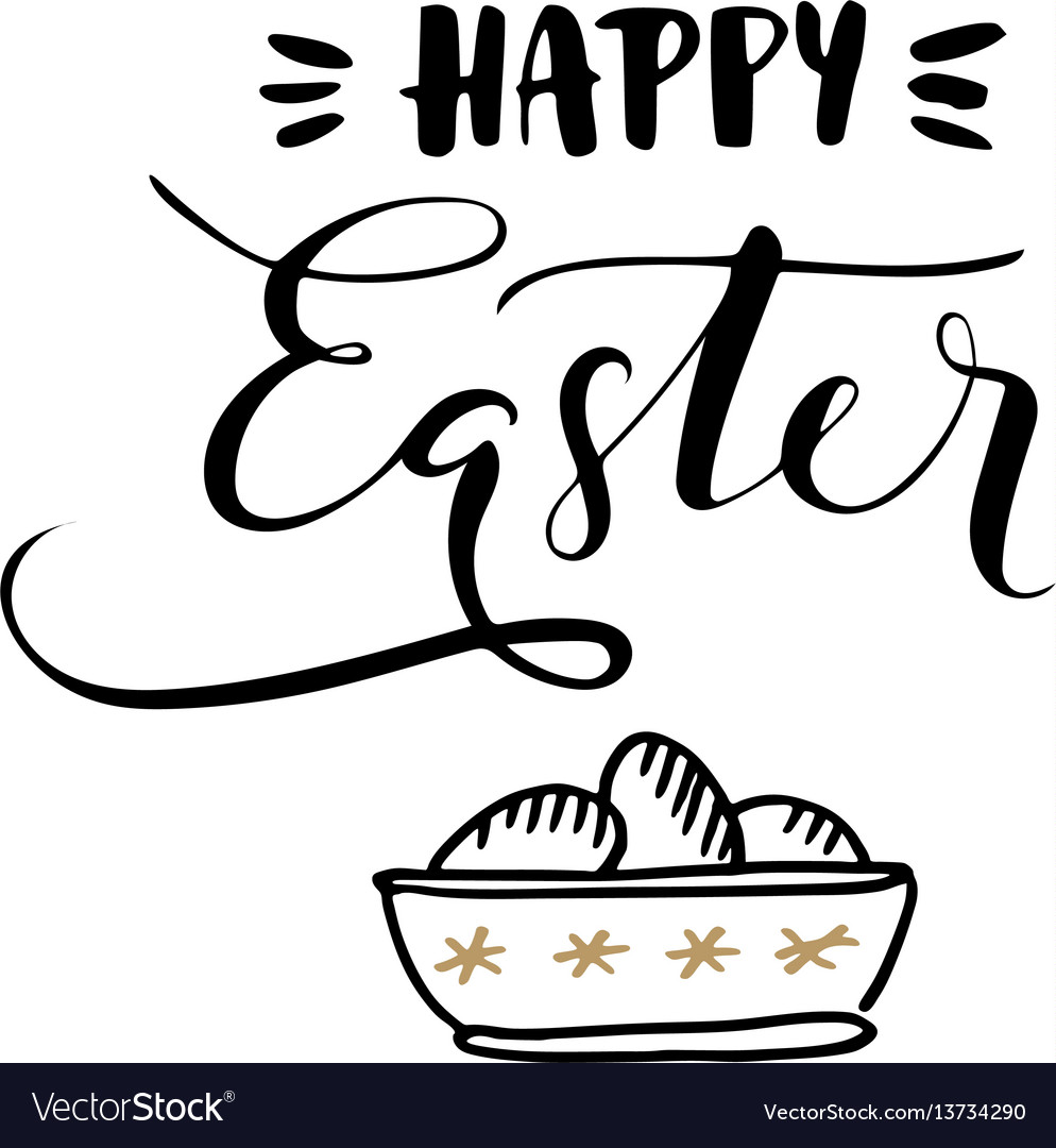 Happy easter calligraphic greeting card vector image