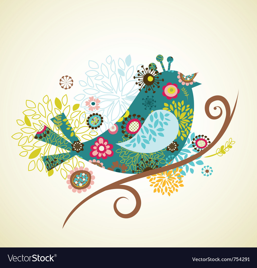 Greeting card with bird royalty free vector image greeting card with bird vector image m4hsunfo