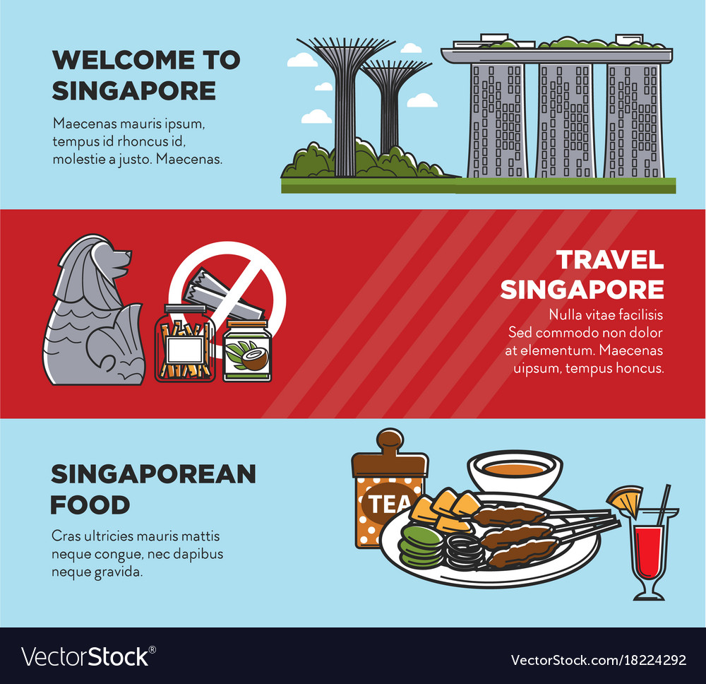 Singapore travel tourist landmark symbols and vector image