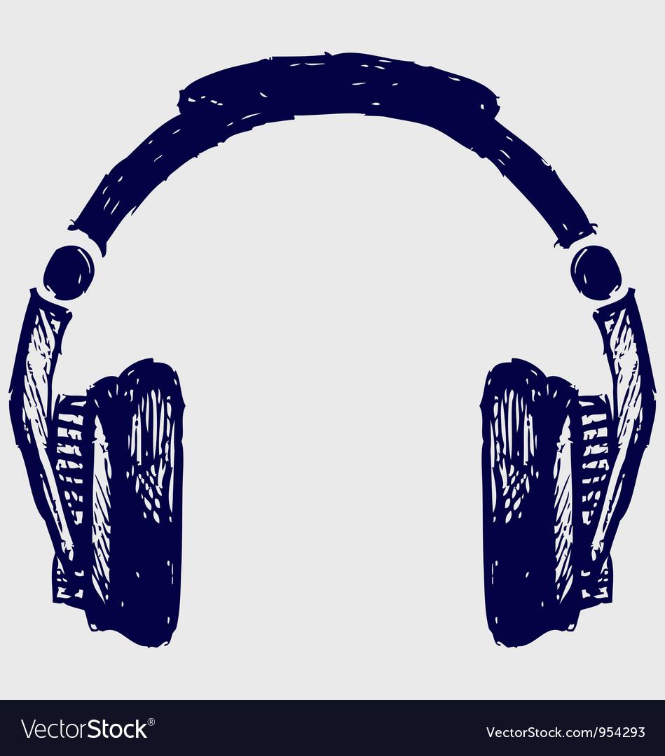 Headphones sketch vector image