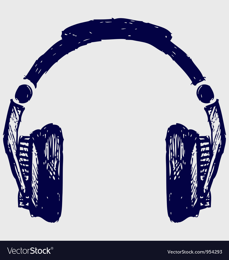 Headphones sketch vector image