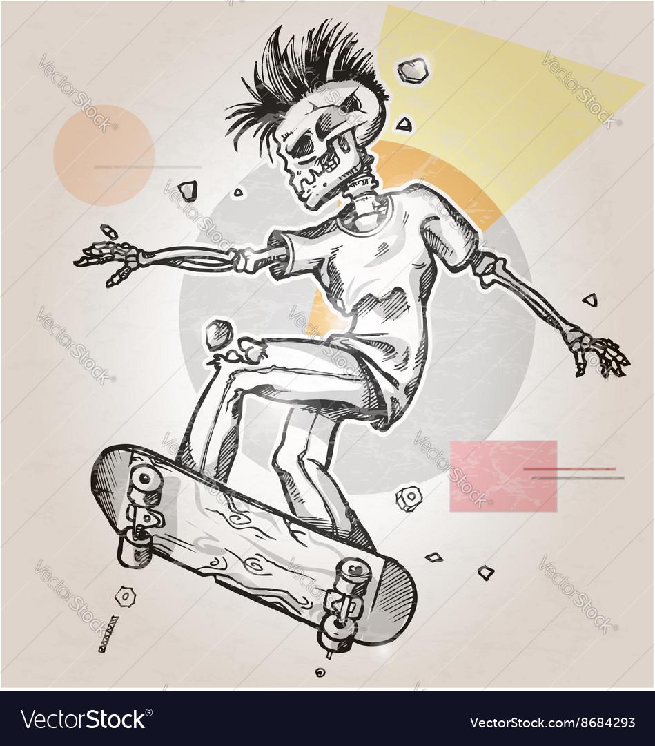 Skeleton punk skater on background vector image