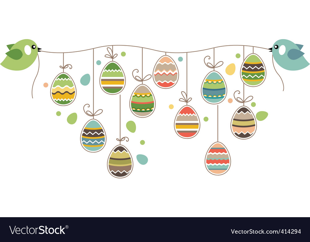 Easter decoration with birds Vector Image