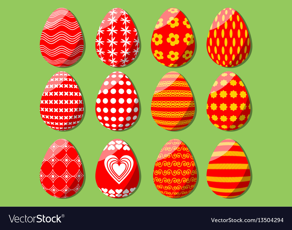 Easter egg isolated set of design elements for vector image