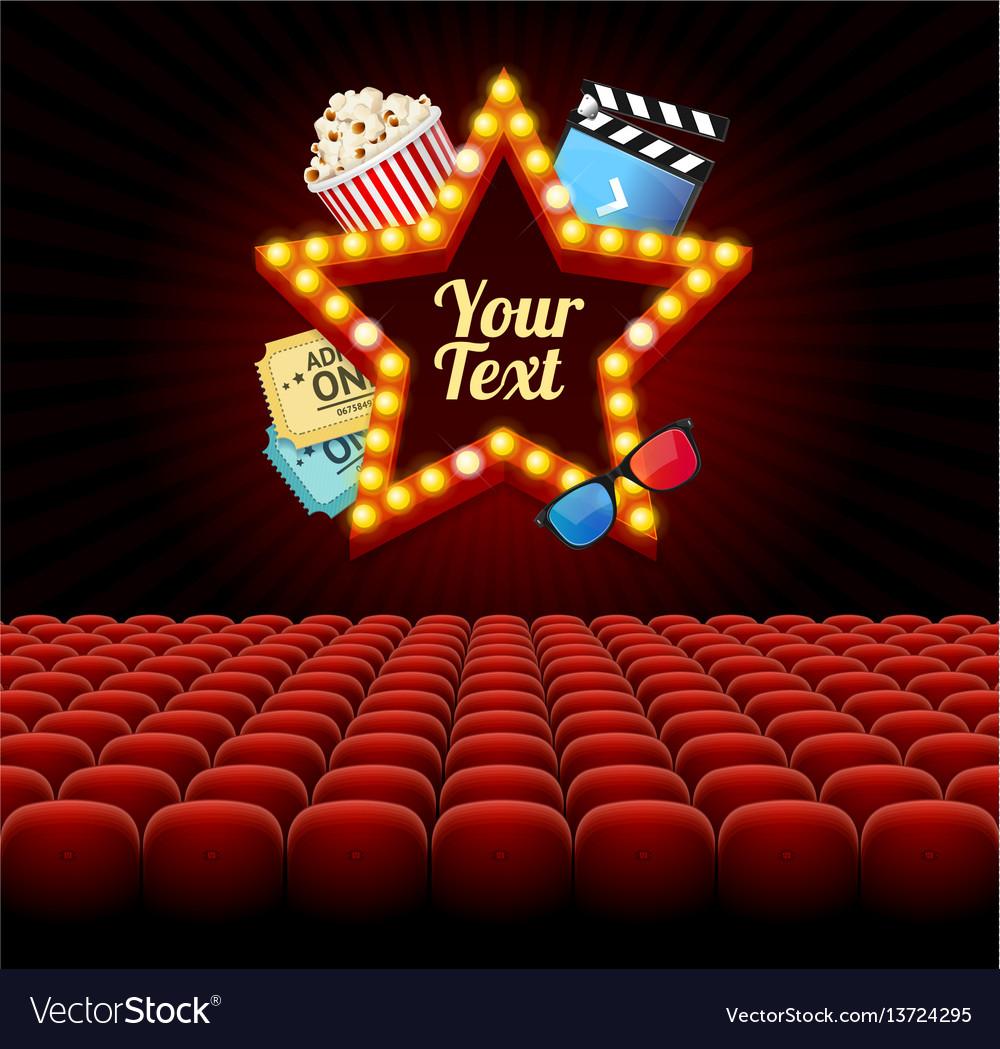 Cinema movie retro concept with seats rows vector image