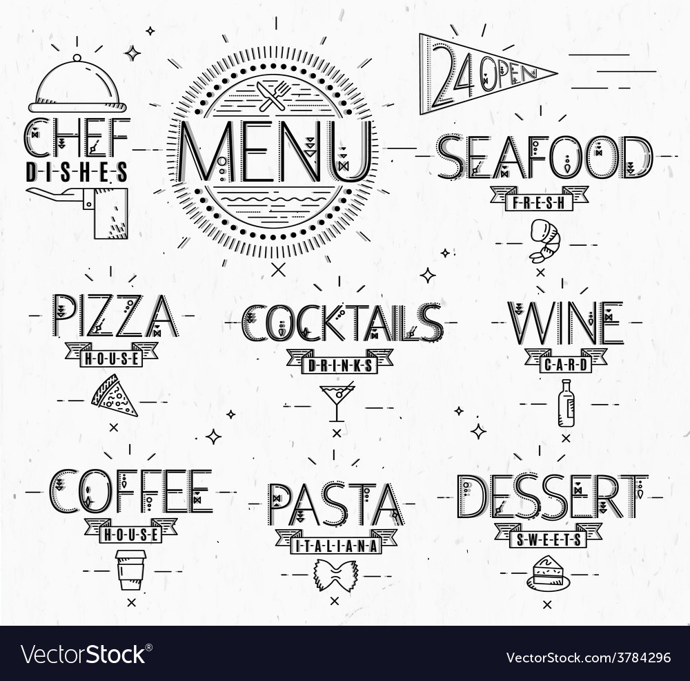 Menu in vintage modern style lines drawn vector image
