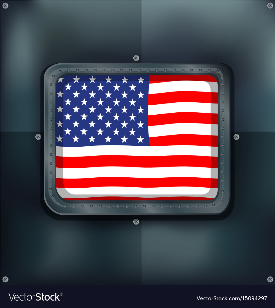 Flag of america on metalic wall vector image