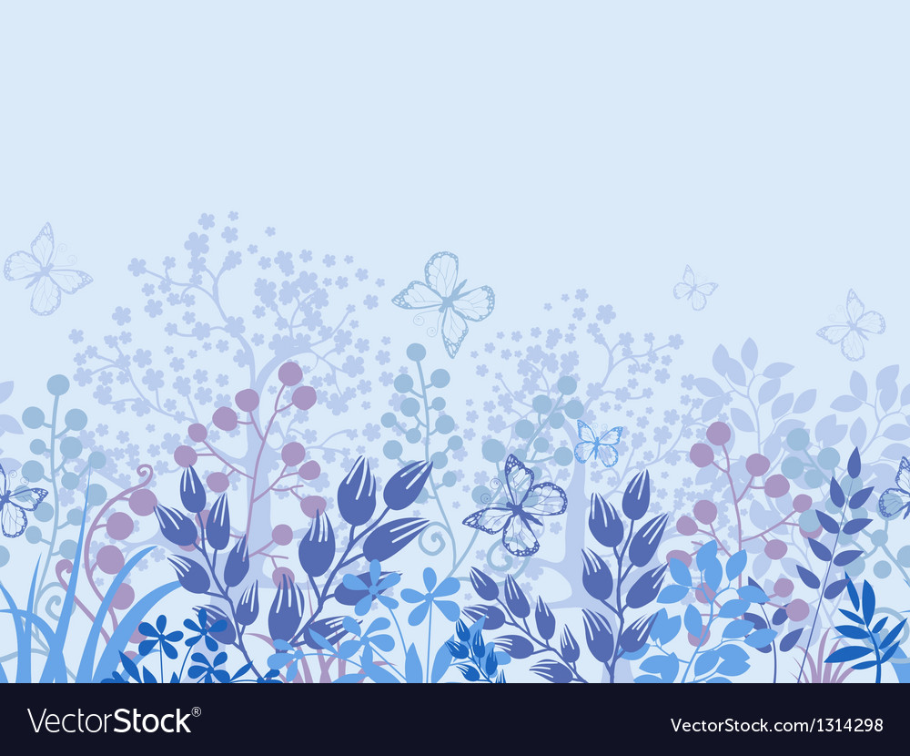 Misty plants horizontal seamless pattern border vector image
