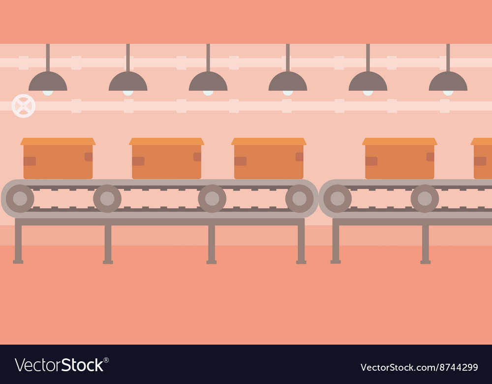 Background of conveyor belt with cardboard boxes vector image