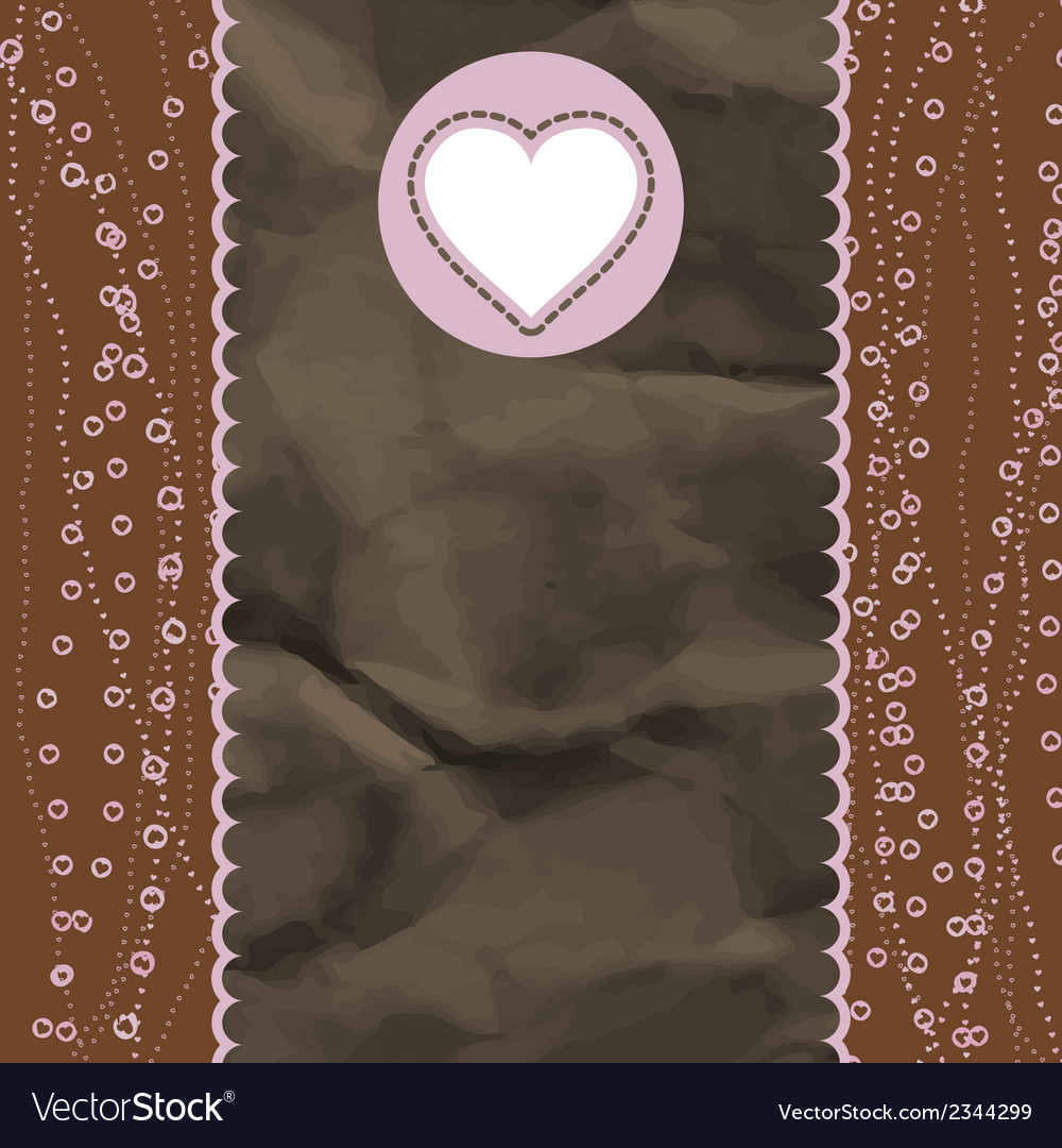 Brown and pink valentine vintage card EPS 8 vector image