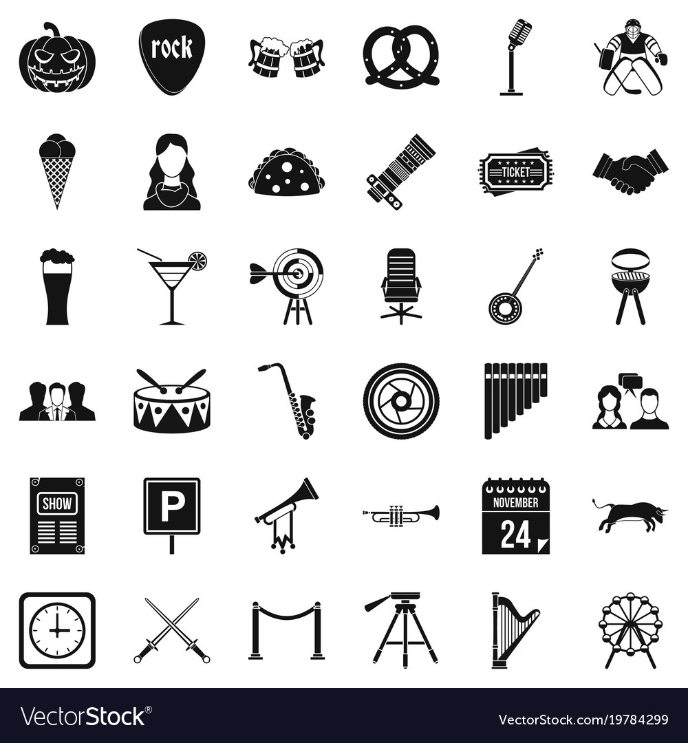 Hearing icons set simple style vector image