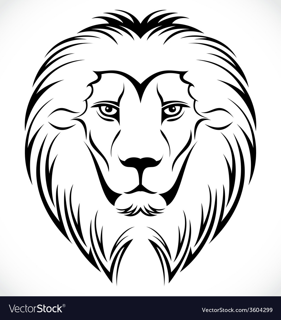 Lion Head Tattoo Design vector image