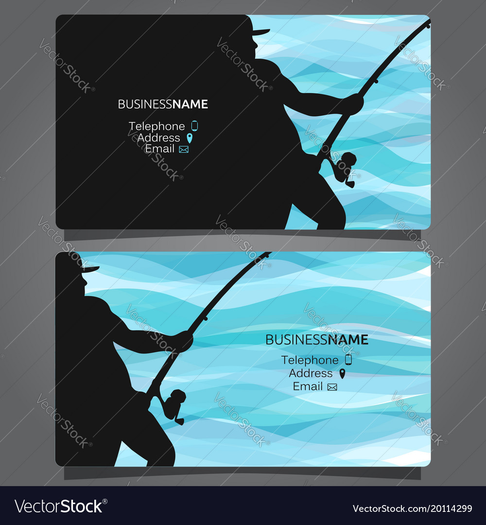 Shop fishing business card Royalty Free Vector Image