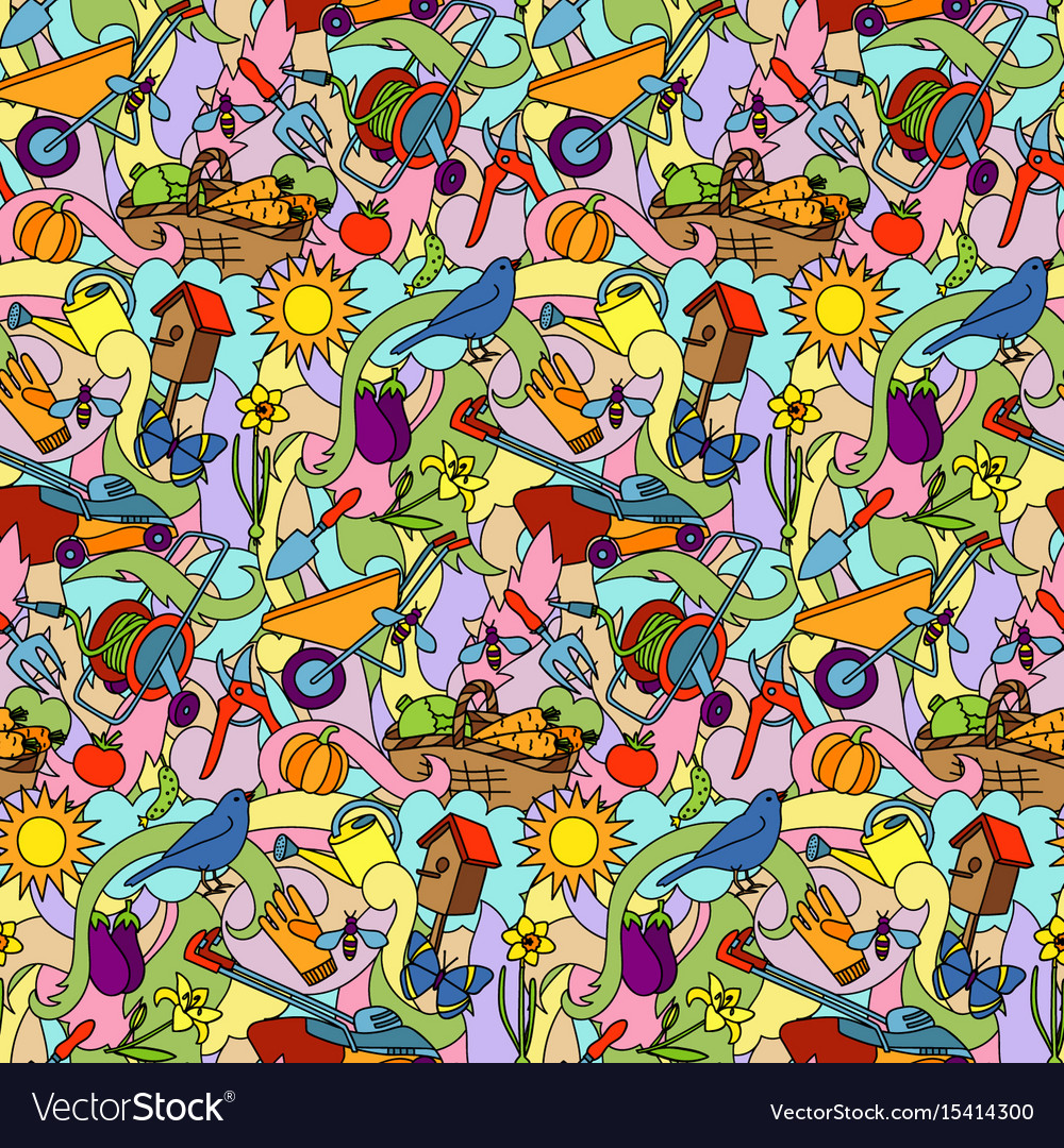 Garden colorful seamless pattern vector image