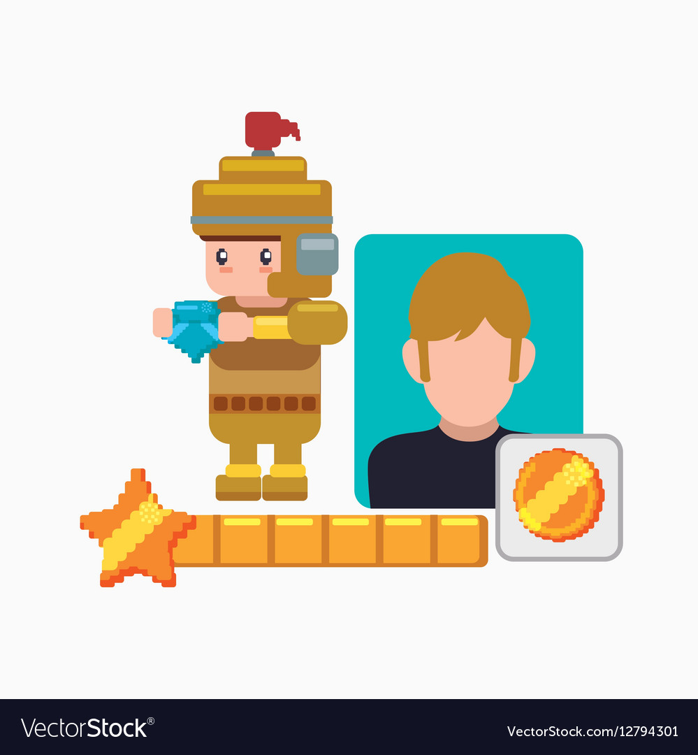 Character boy knight game coin vector image