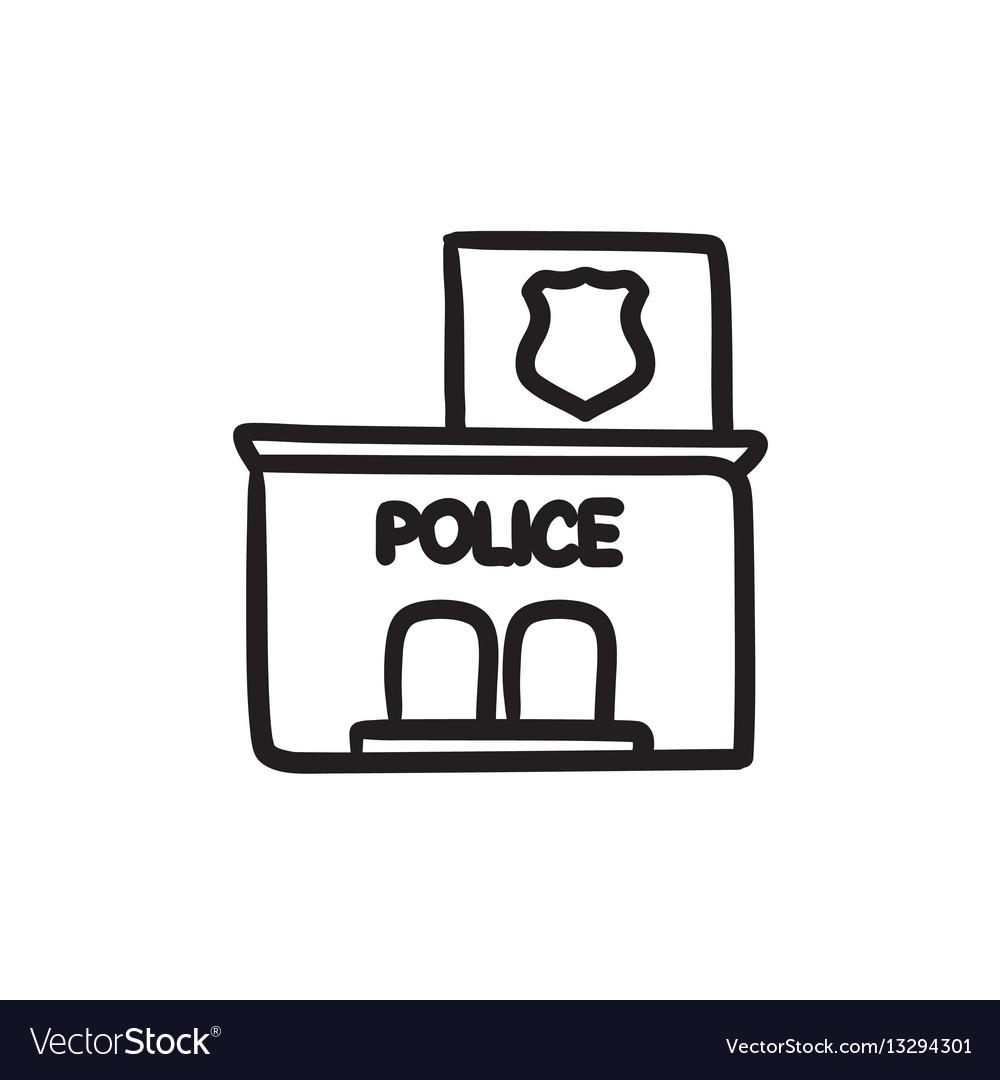 Police station sketch ico vector image