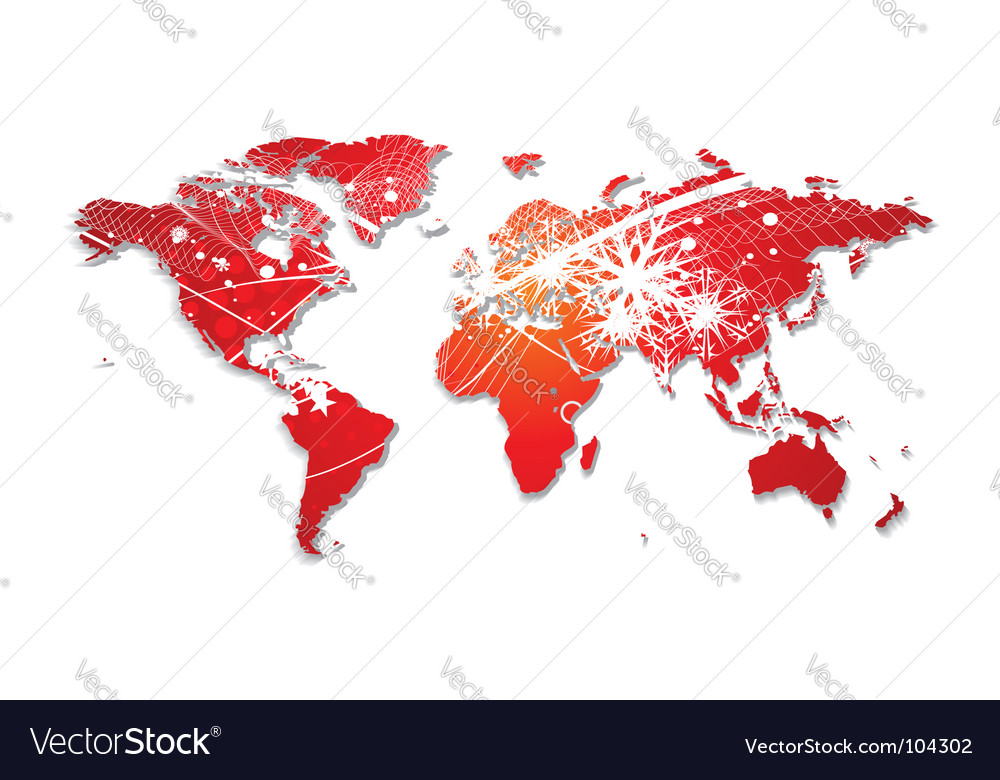 Christmas world map vector image