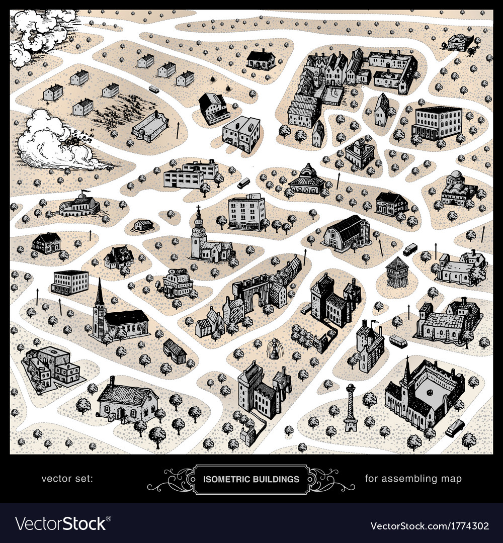 Isometric buildings for assembling map vector image