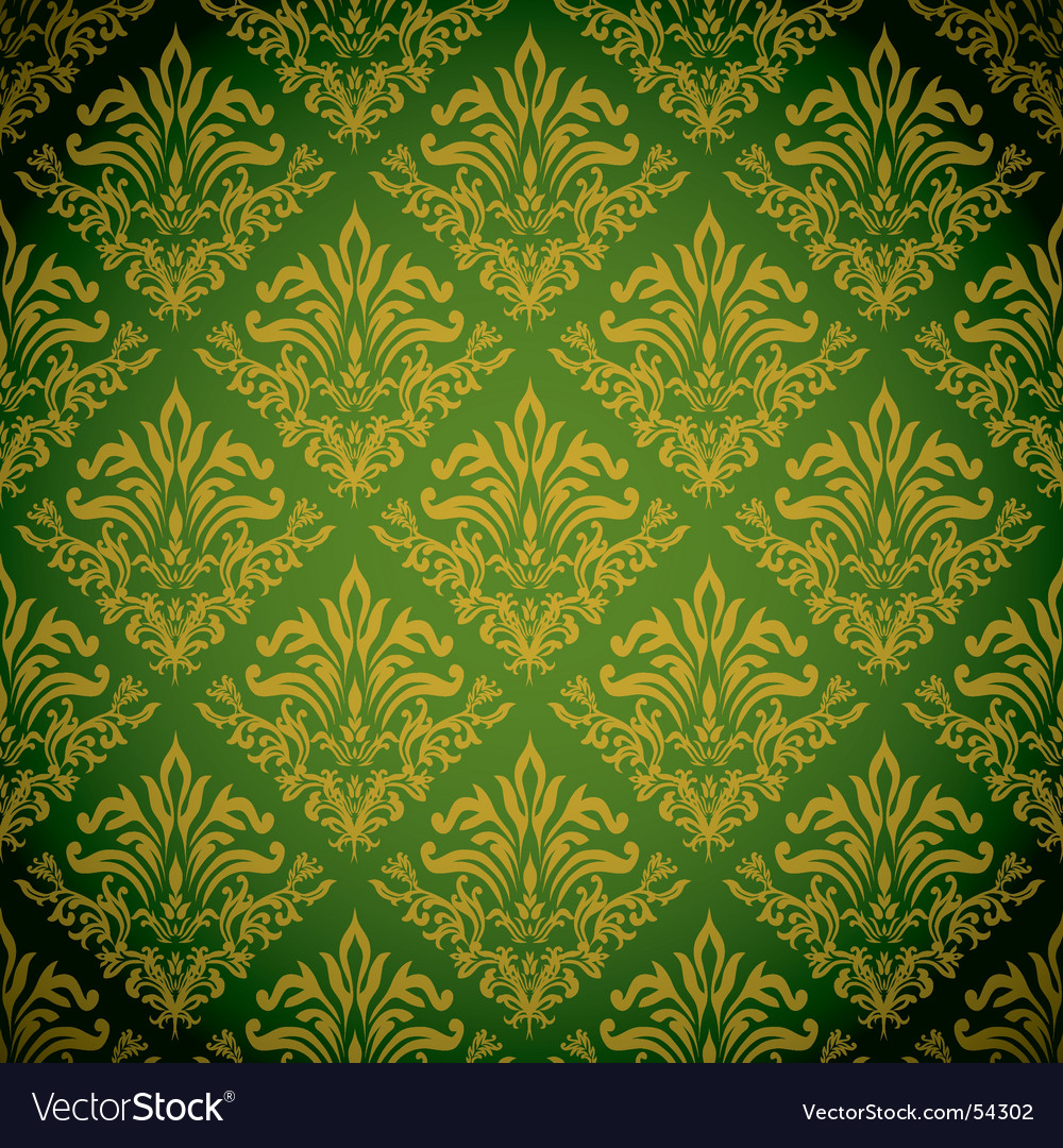 Vintage damask wallpaper vector image