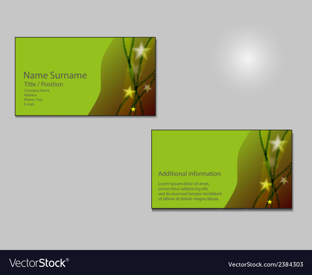Green Business card layout with green stars on Vector Image