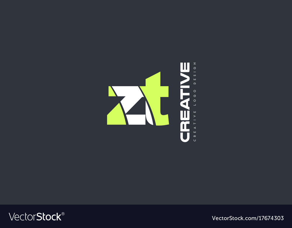 Green letter zt z t combination logo icon company vector image