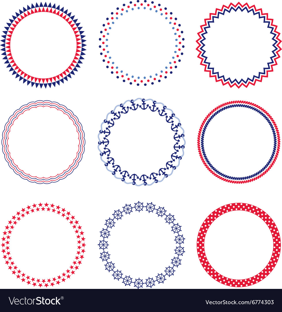 nautical circle frames vector image - Nautical Frames