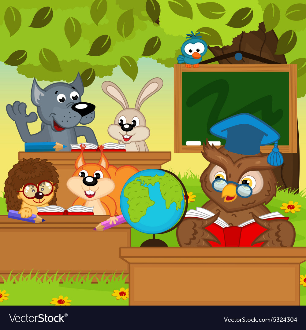 Animals sit at school desks in forest vector image
