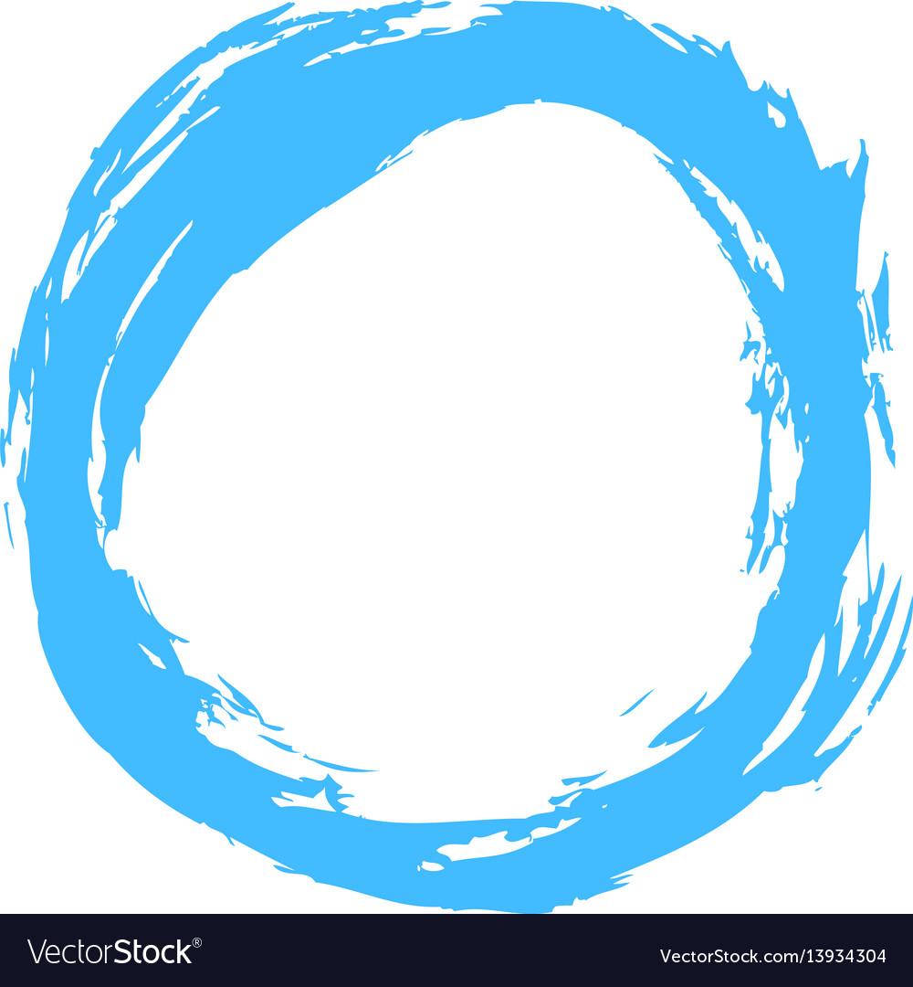 Blue brushstroke circular shape vector image