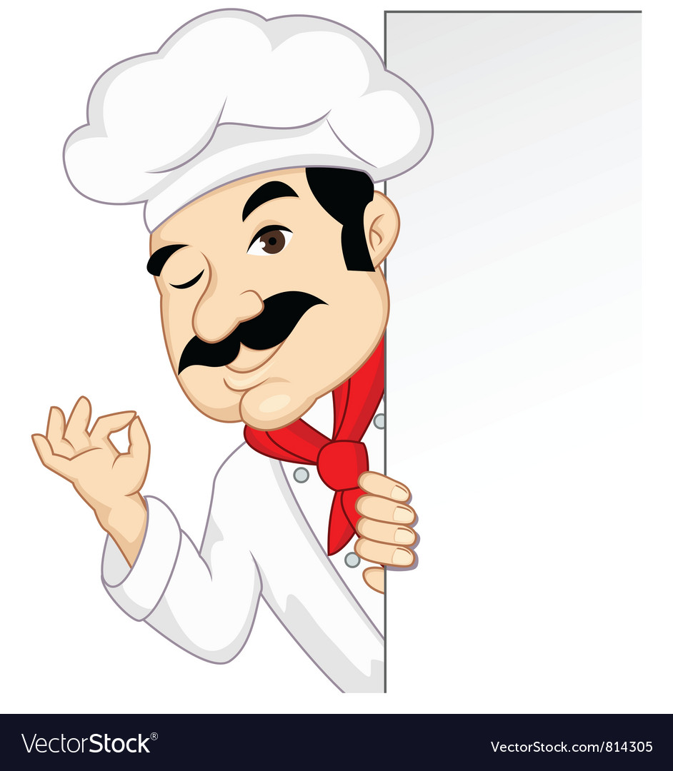 Chef with blank sign vector image