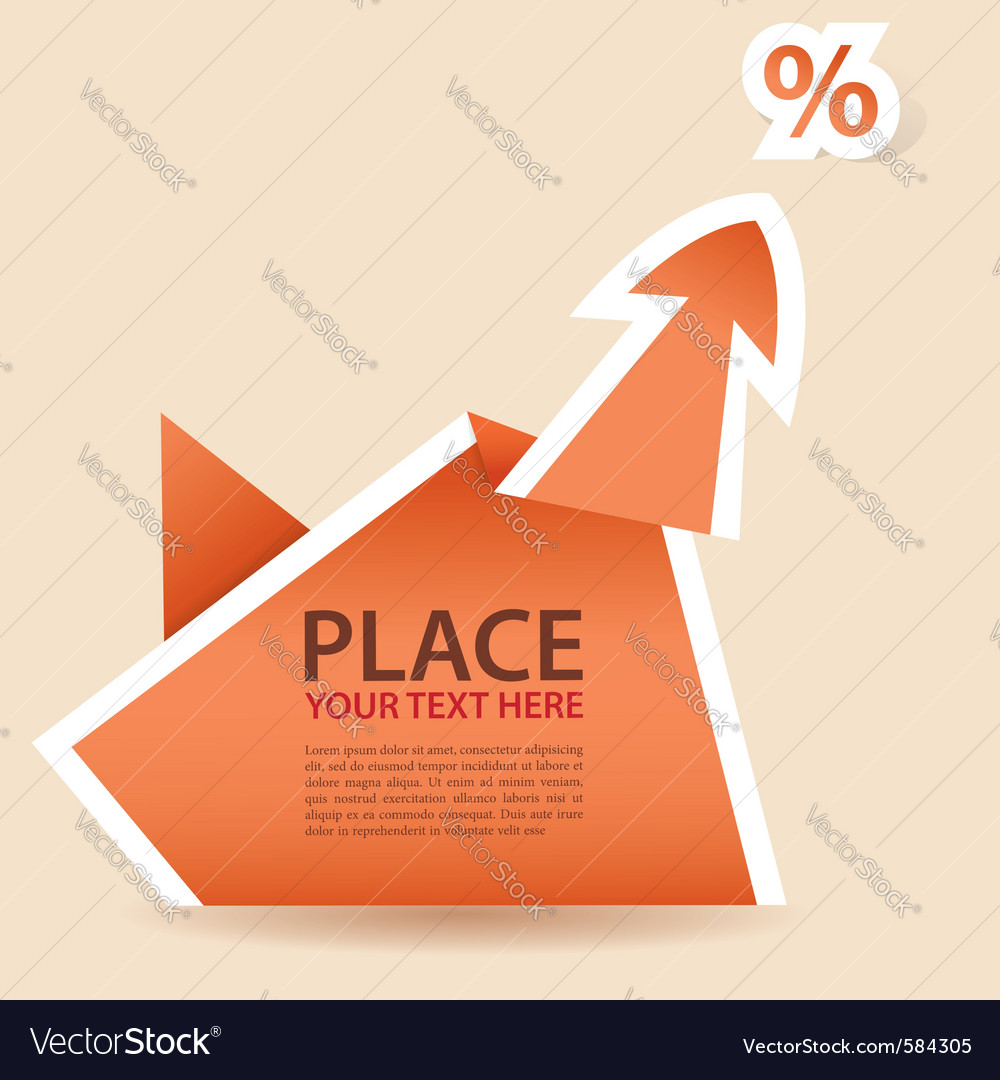 Paper origami arrow element vector image