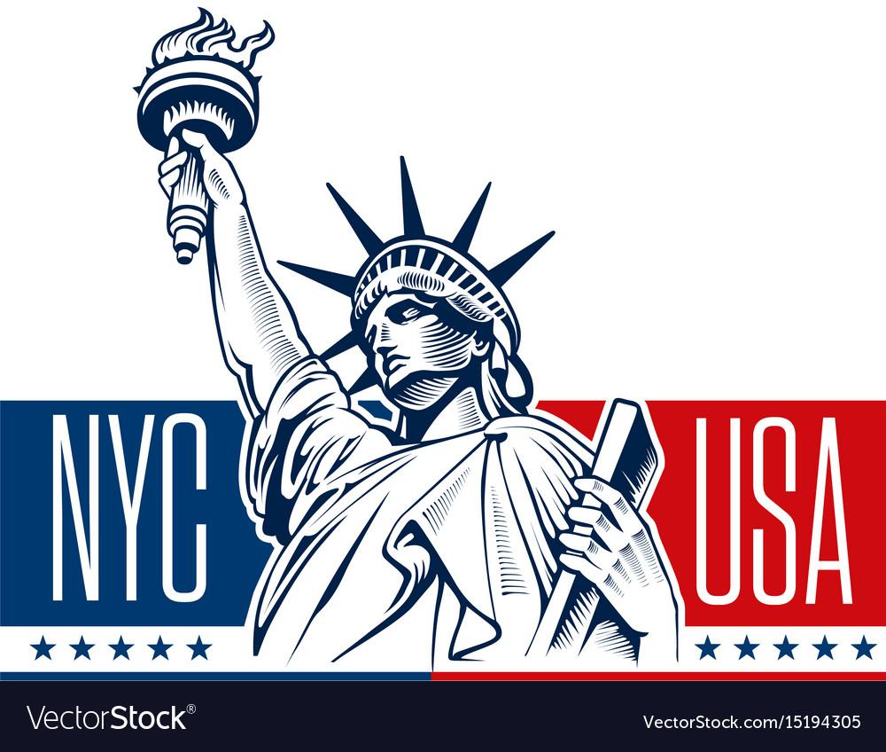 Statue of liberty nyc usa symbol vector image