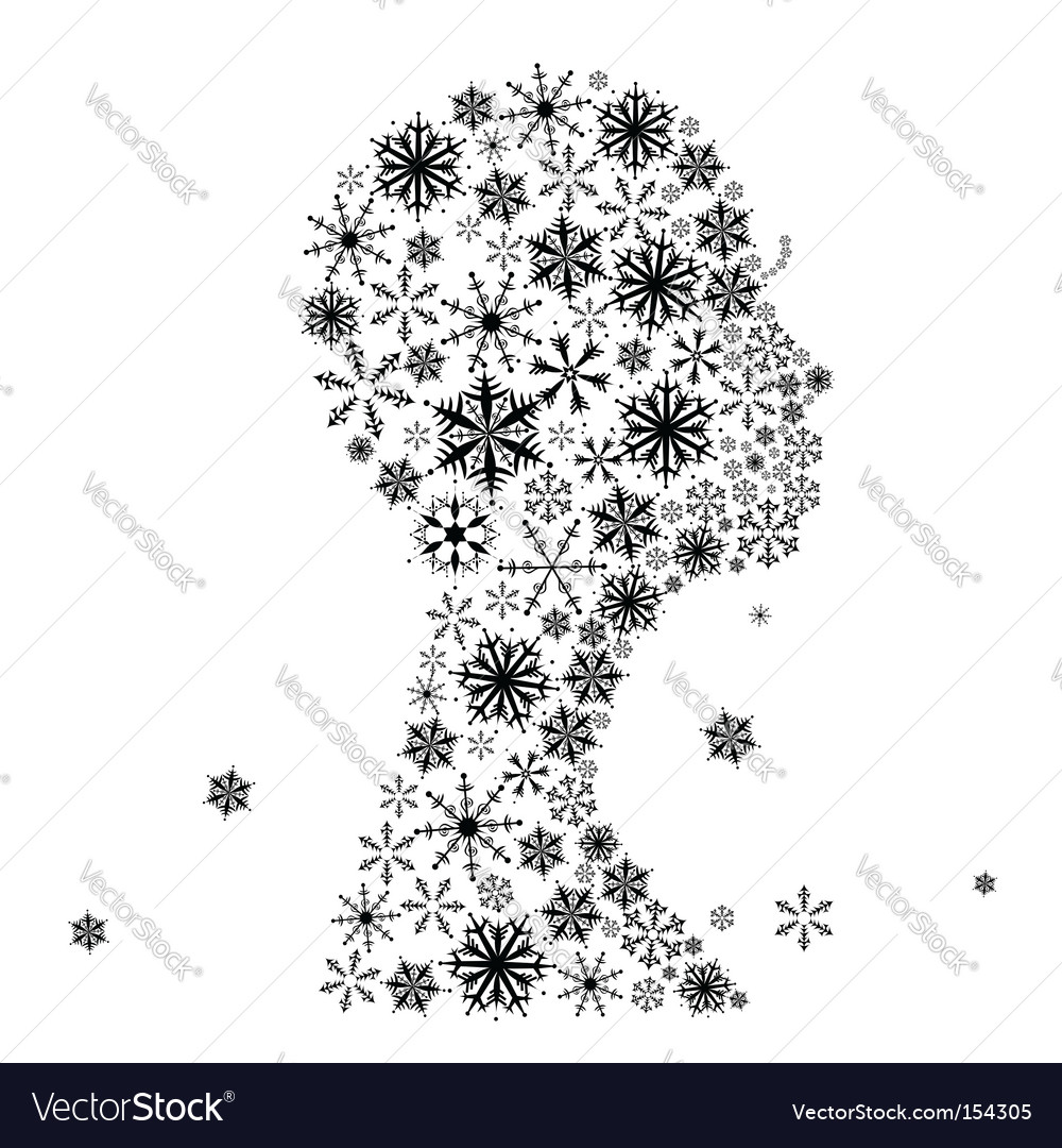 Stylized woman head snowflakes vector image