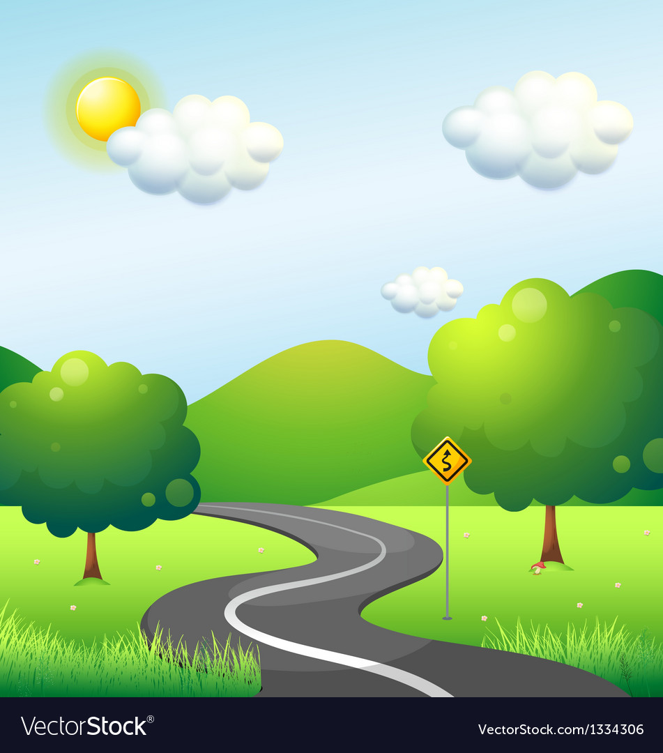 A curve road with a curve sign along the mountain Vector Image