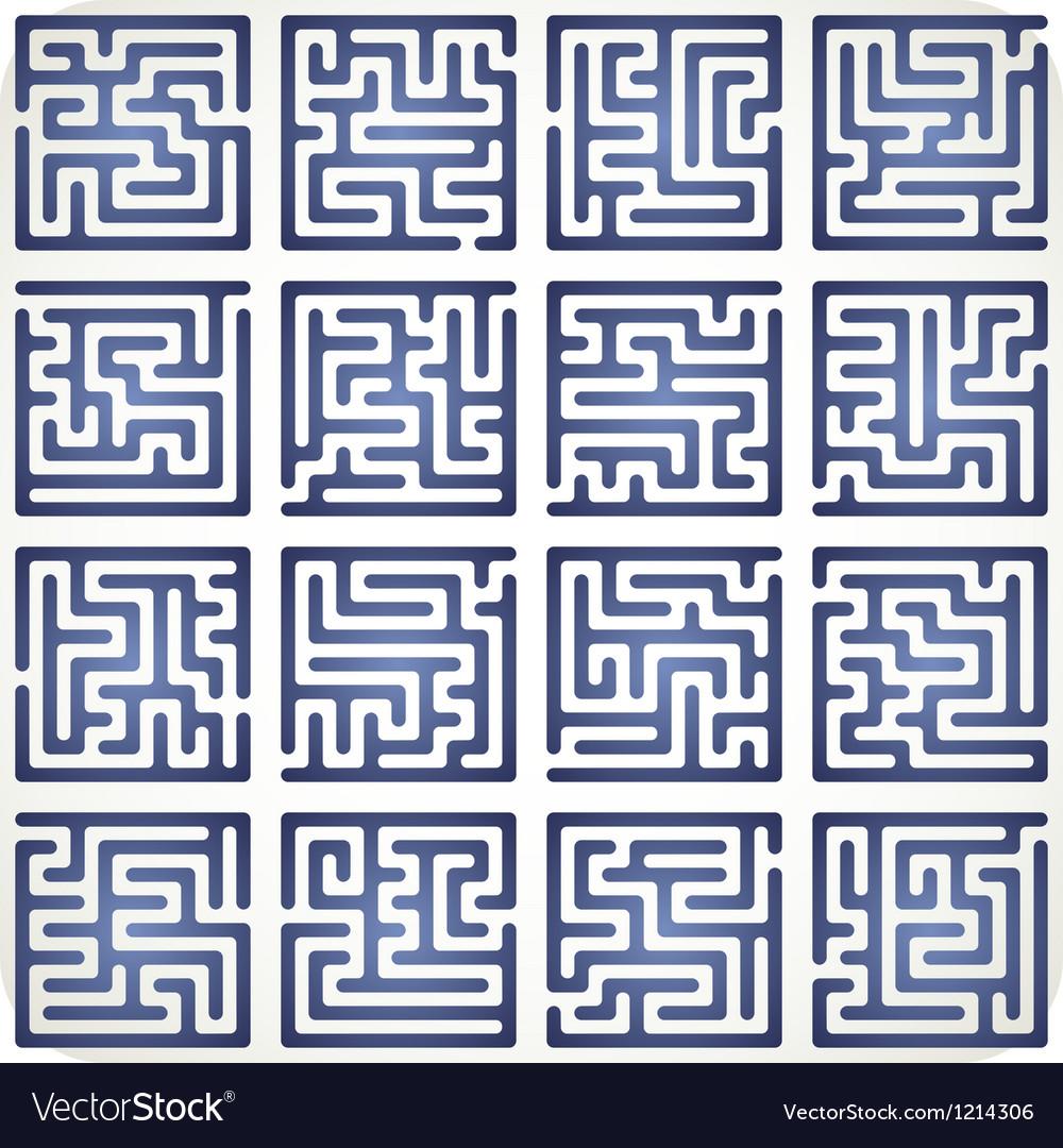 Set of Maze vector image
