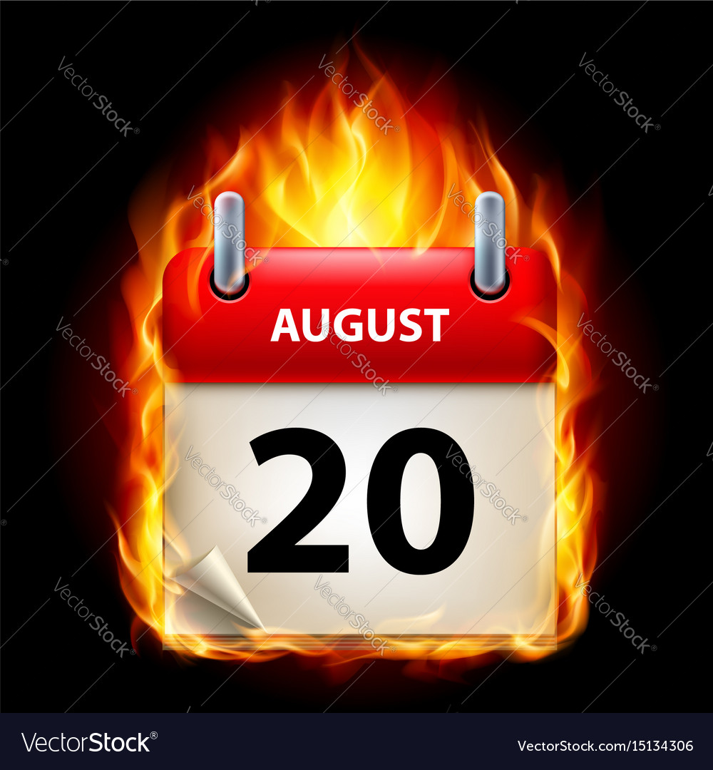 Twentieth august in calendar burning icon on vector image