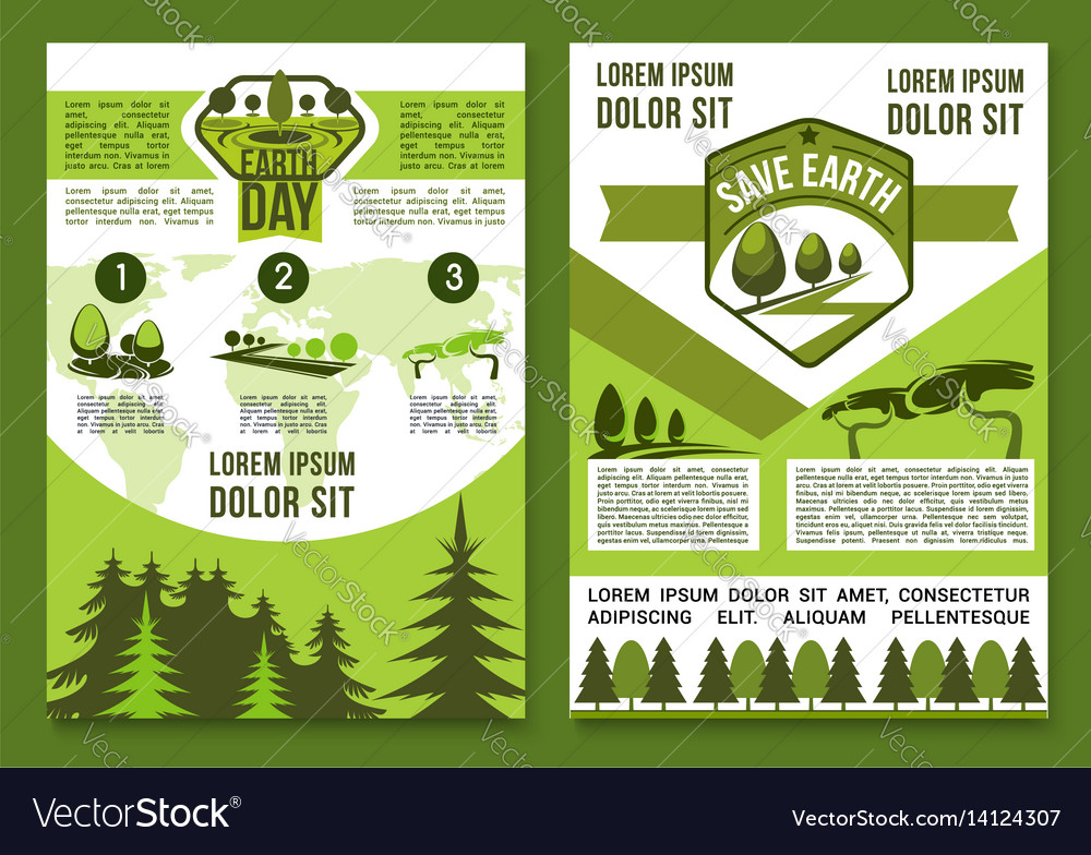 Brochures or posters for earth day vector image
