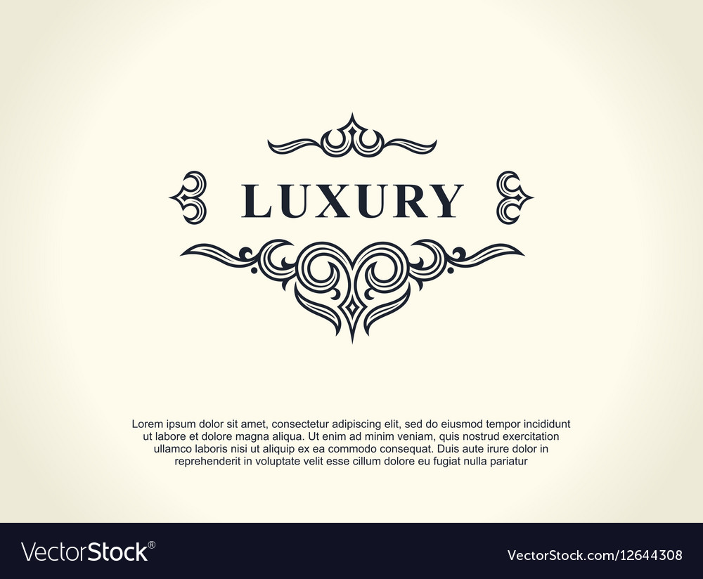Calligraphic Luxury line logo Flourishes elegant vector image