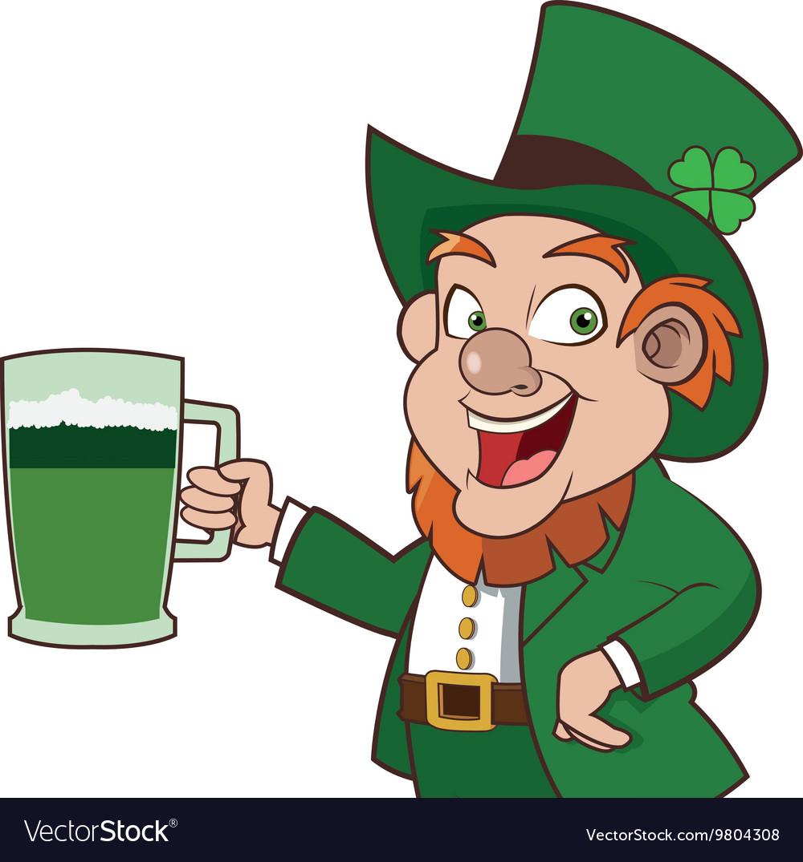 Leprechaun character holding beer icon vector image
