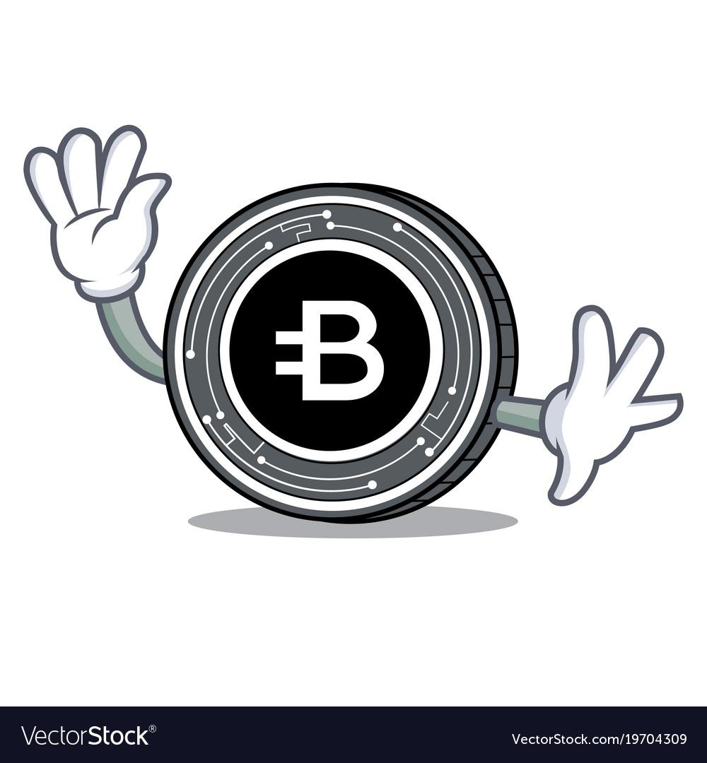 Waving bytecoin coin character cartoon vector image
