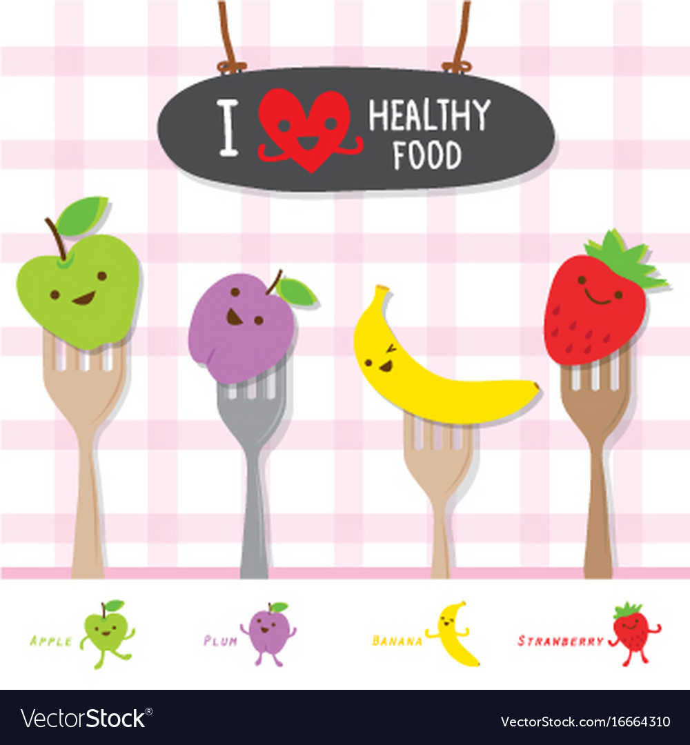 Healthy food fruit diet eat useful vitamin cartoon vector image