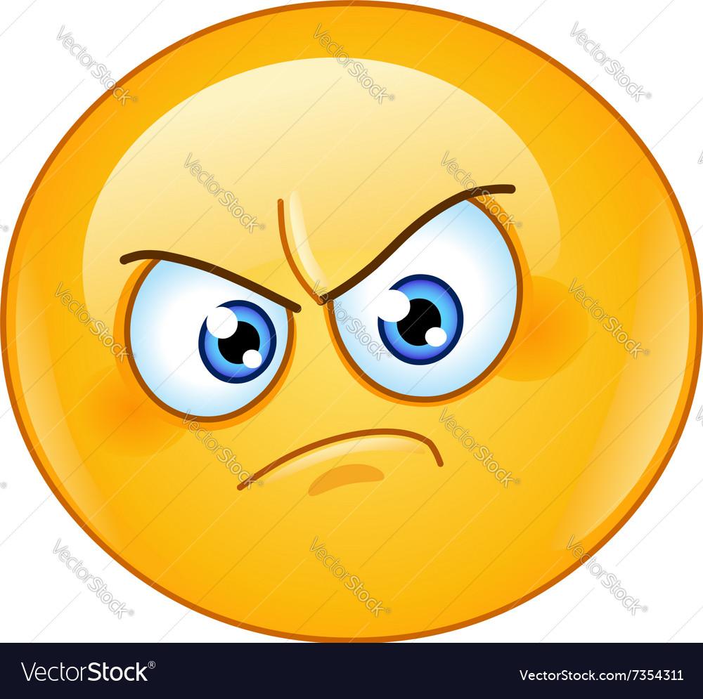 Annoyed emoticon vector image
