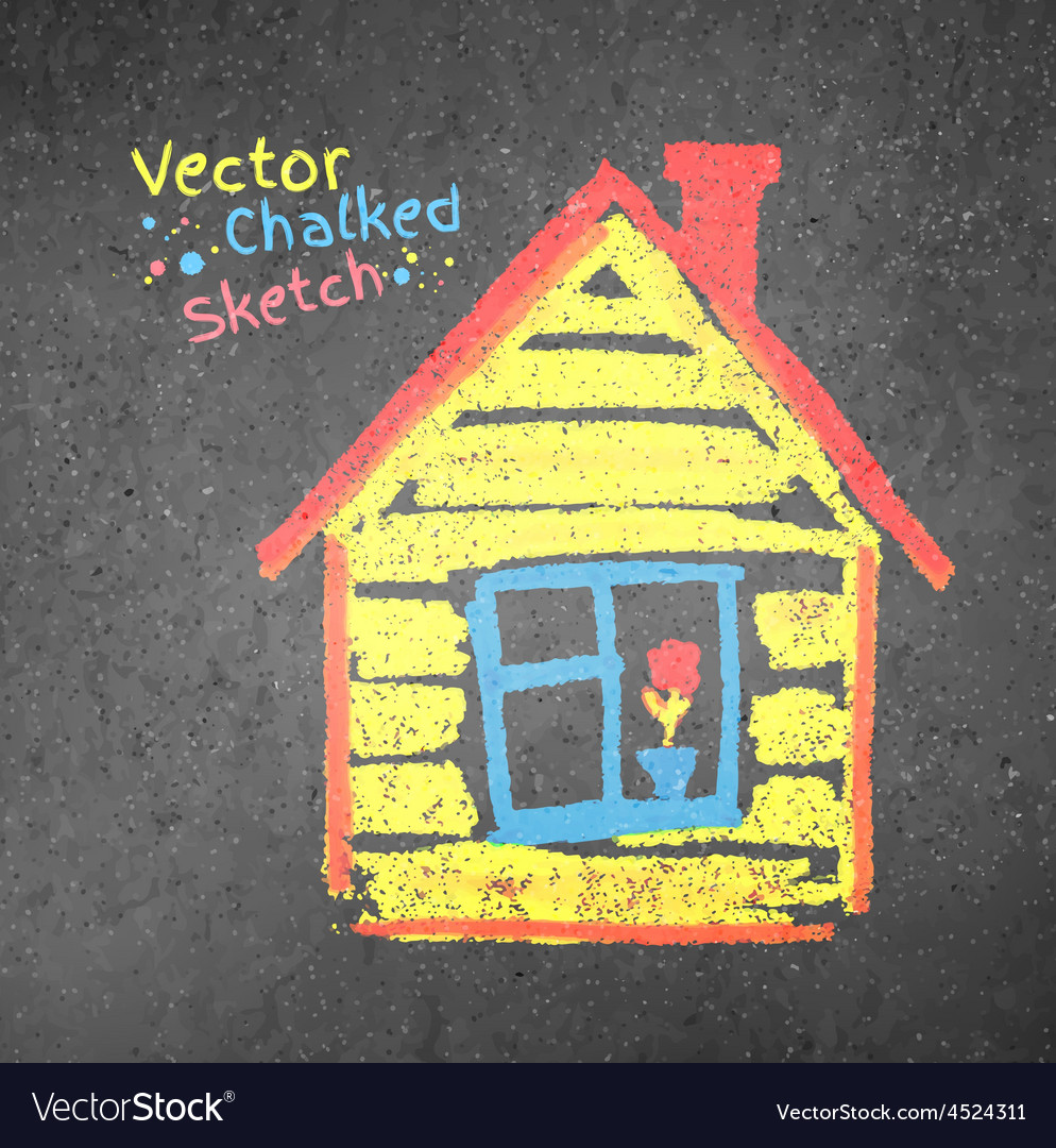 Chalk drawn house vector image