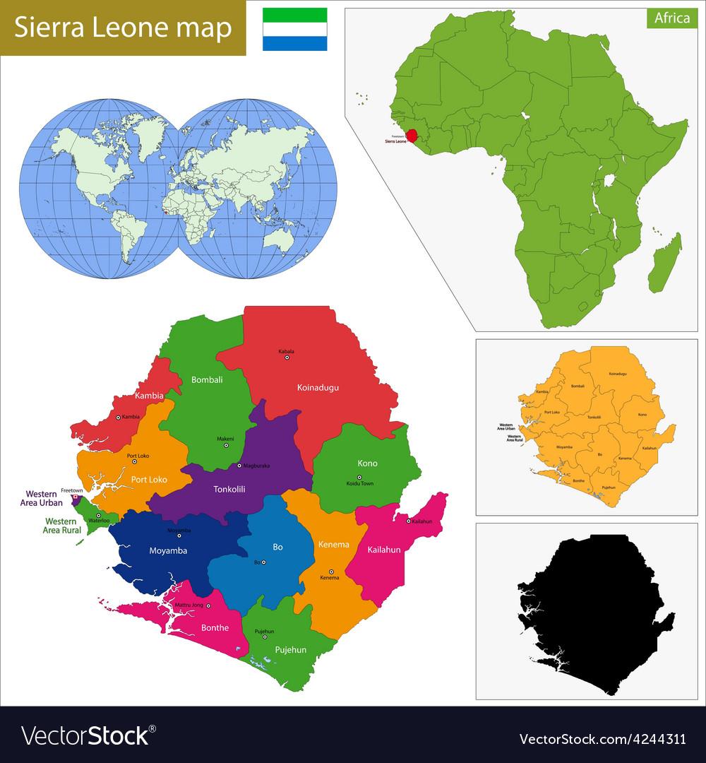 Sierra Leone Map Royalty Free Vector Image VectorStock - Sierra leone map